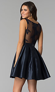 Image of v-neck short satin party dress with pockets. Style: SOI-S18214 Back Image
