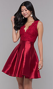 Image of v-neck short satin party dress with pockets. Style: SOI-S18214 Detail Image 2