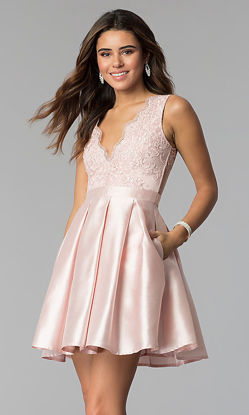 Image of v-neck short satin party dress with pockets. Style: SOI-S18214 Detail Image 3
