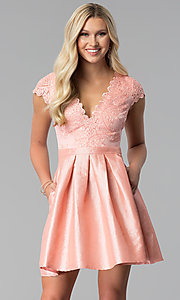Embroidered-Bodice Short Prom Dress in Blush Pink