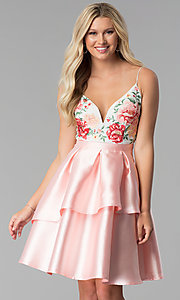 V-Neck Short Prom Dress with Embroidery