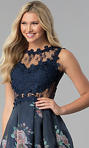 Image of long navy blue prom dress with floral-print skirt. Style: SOI-M17651 Detail Image 1