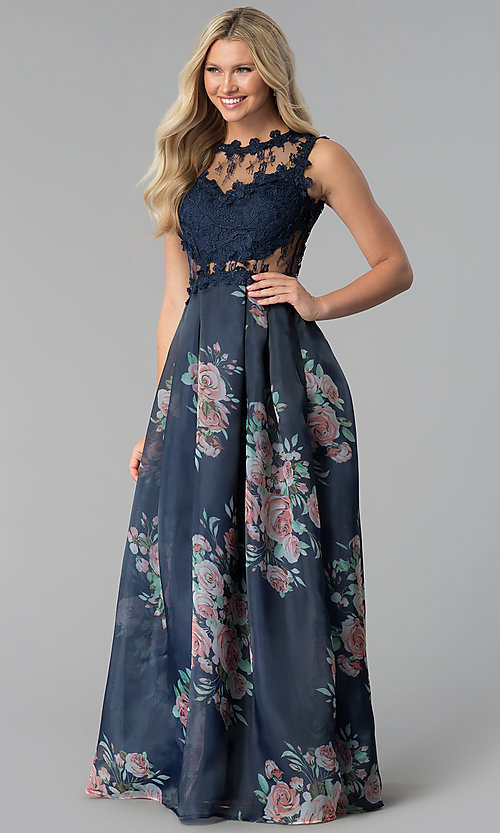 Image of long navy blue prom dress with floral-print skirt. Style: SOI-M17651 Front Image