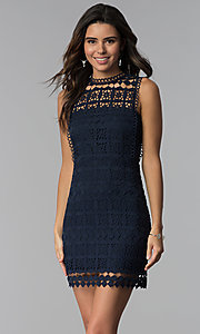 Image of short navy blue crocheted-lace party dress. Style: JTM-JMD8506 Front Image