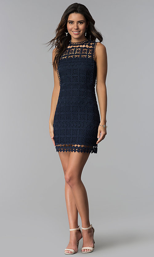 Image of short navy blue crocheted-lace party dress. Style: JTM-JMD8506 Detail Image 3