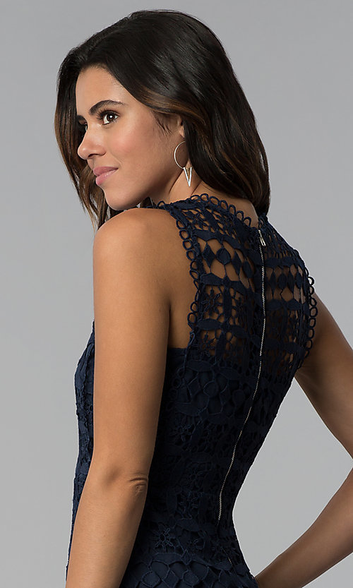 Image of short navy blue crocheted-lace party dress. Style: JTM-JMD8506 Detail Image 2