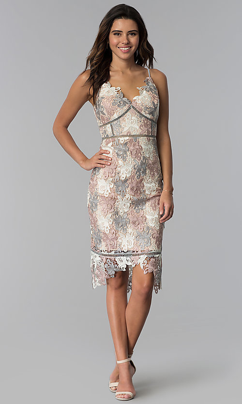 Image of knee-length lace v-neck graduation party dress. Style: JTM-JMD8753 Detail Image 3