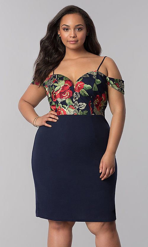 Image of short off-shoulder plus-size party dress in navy. Style: SOI-PS40032 Front Image