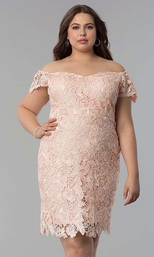 Plus-Size Short Lace Off-Shoulder Party Dress