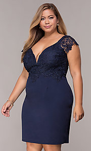 Image of navy short lace-cap-sleeve plus wedding guest dress. Style: SOI-PS40038 Front Image