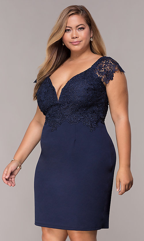 Navy Cap Sleeve Plus Wedding Guest Dress Promgirl