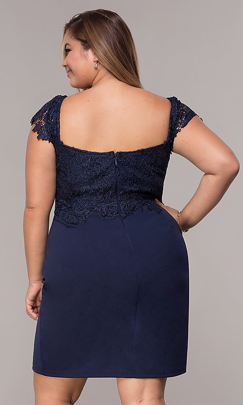 Image of navy short lace-cap-sleeve plus wedding guest dress. Style: SOI-PS40038 Back Image