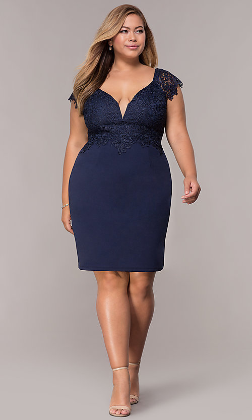 Image of navy short lace-cap-sleeve plus wedding guest dress. Style: SOI-PS40038 Detail Image 3
