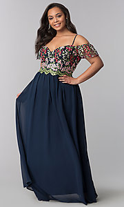 Image of long plus-size off-the-shoulder prom dress. Style: SOI-PM17846 Front Image