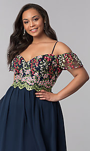 Image of long plus-size off-the-shoulder prom dress. Style: SOI-PM17846 Detail Image 1