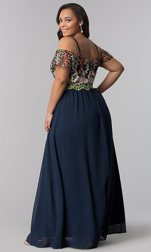 Image of long plus-size off-the-shoulder prom dress. Style: SOI-PM17846 Back Image