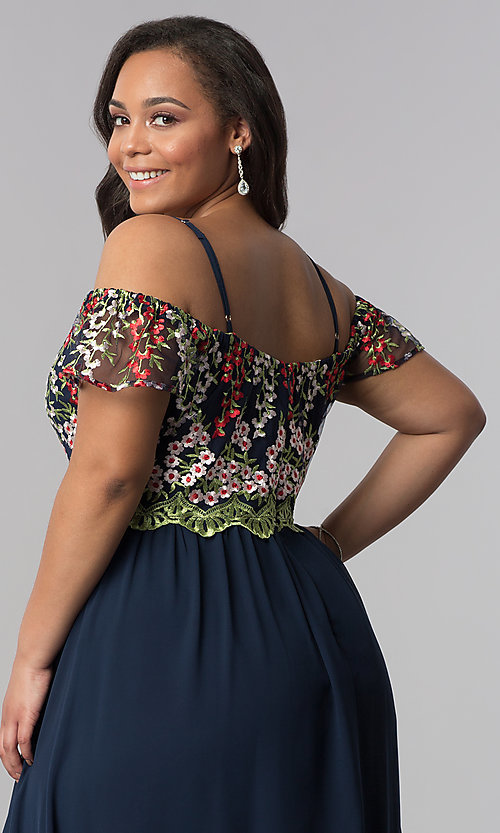 Image of long plus-size off-the-shoulder prom dress. Style: SOI-PM17846 Detail Image 2