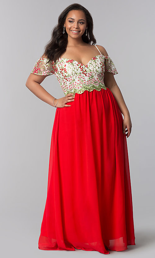 Image of long plus-size off-the-shoulder prom dress. Style: SOI-PM17846 Detail Image 3