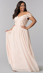 Image of v-neck plus prom dress with cap sleeves. Style: SOI-PM17756 Front Image