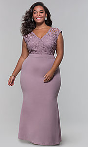 Image of plus-size long navy blue v-neck prom dress. Style: SOI-PM40040 Detail Image 3