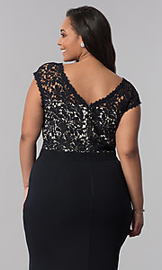 Image of plus-size long navy blue v-neck prom dress. Style: SOI-PM40040 Detail Image 2