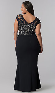 Image of plus-size long navy blue v-neck prom dress. Style: SOI-PM40040 Back Image