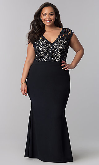 Plus-Size Long Navy Blue V-Neck Prom Dress