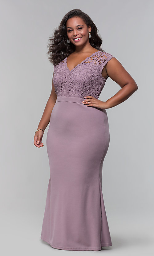Image of plus-size long navy blue v-neck prom dress. Style: SOI-PM40040 Detail Image 5
