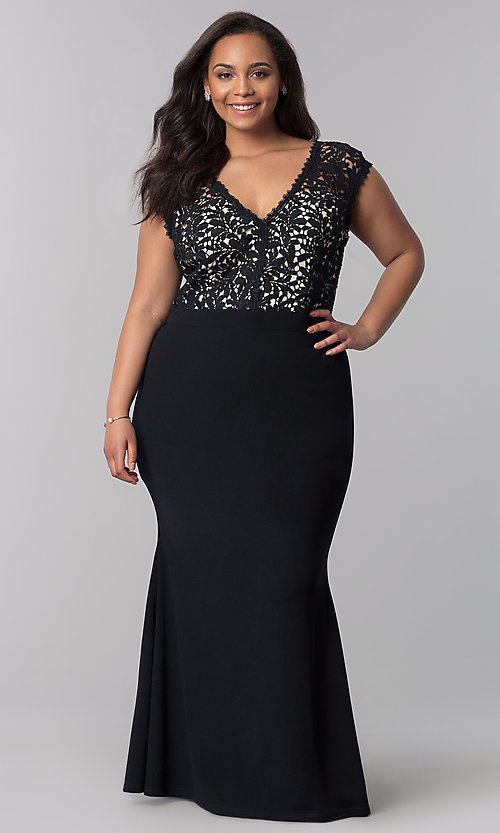 Image of plus-size long navy blue v-neck prom dress. Style: SOI-PM40040 Front Image