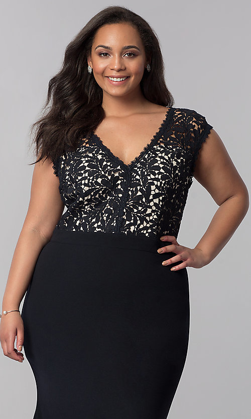Image of plus-size long navy blue v-neck prom dress. Style: SOI-PM40040 Detail Image 1