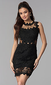 Short Lace Sleeveless Wedding Guest Party Dress