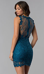 Image of short lace sleeveless wedding guest party dress. Style: SOI-D15668 Back Image