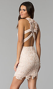 Caged-Back Short Lace Party Dress in Blush Pink