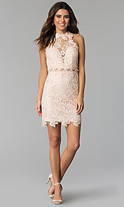 Image of caged-back short lace sheath party dress. Style: SOI-S17860 Detail Image 2