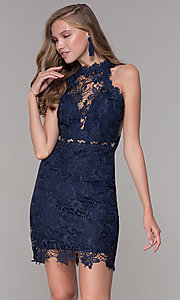 Image of caged-back short lace sheath party dress. Style: SOI-S17860 Detail Image 3