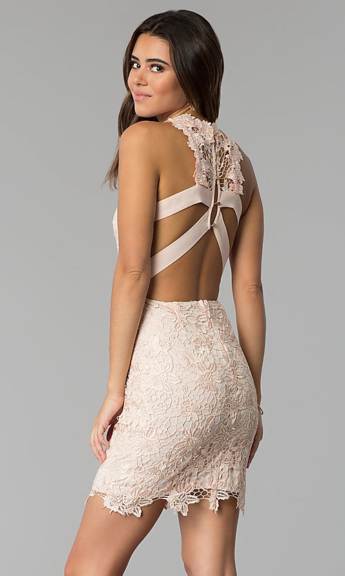 Image of caged-back short lace sheath party dress. Style: SOI-S17860 Front Image