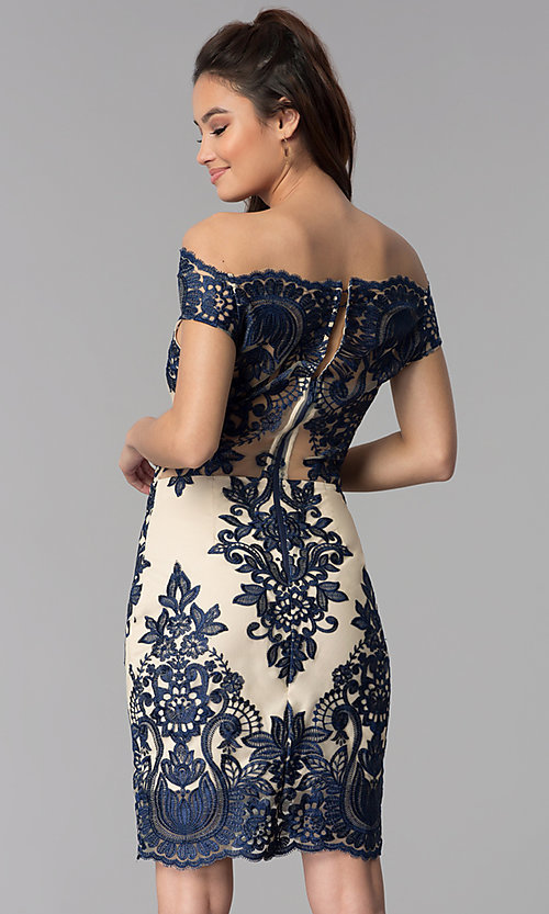 Image of off-shoulder nude party dress with navy embroidery. Style: SOI-S17622 Back Image