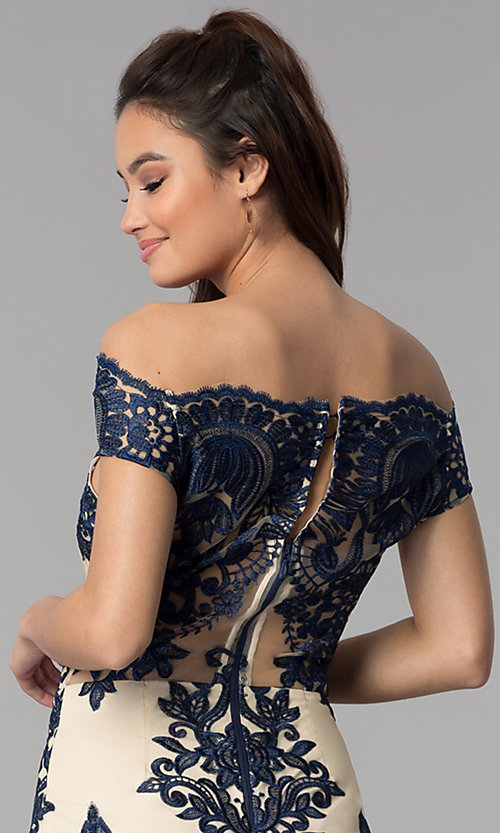 Image of off-shoulder nude party dress with navy embroidery. Style: SOI-S17622 Detail Image 2