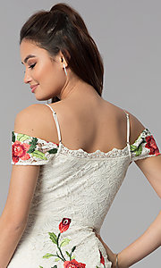 Image of floral-embroidered short lace graduation dress. Style: SOI-S17805 Detail Image 2