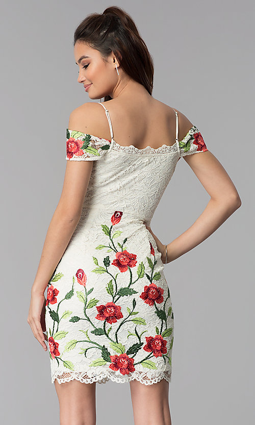 Image of floral-embroidered short lace graduation dress. Style: SOI-S17805 Back Image