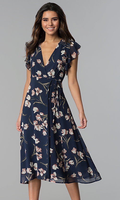 Floral Print Navy Wedding Guest Party Dress Promgirl