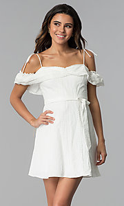 Image of short white ruffled off-the-shoulder party dress. Style: STO-JD1374 Front Image