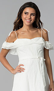 Image of short white ruffled off-the-shoulder party dress. Style: STO-JD1374 Detail Image 1