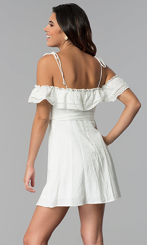 Image of short white ruffled off-the-shoulder party dress. Style: STO-JD1374 Back Image