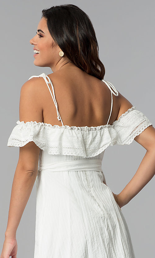 Image of short white ruffled off-the-shoulder party dress. Style: STO-JD1374 Detail Image 2