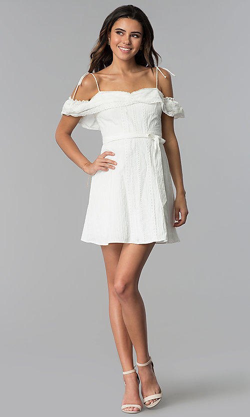 Image of short white ruffled off-the-shoulder party dress. Style: STO-JD1374 Detail Image 3