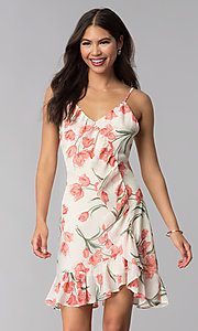 Image of short ivory and peach floral-print party dress. Style: STO-JD1280A Front Image