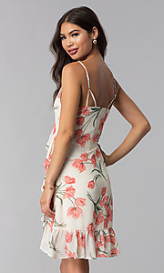 Image of short ivory and peach floral-print party dress. Style: STO-JD1280A Back Image