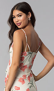 Image of short ivory and peach floral-print party dress. Style: STO-JD1280A Detail Image 2