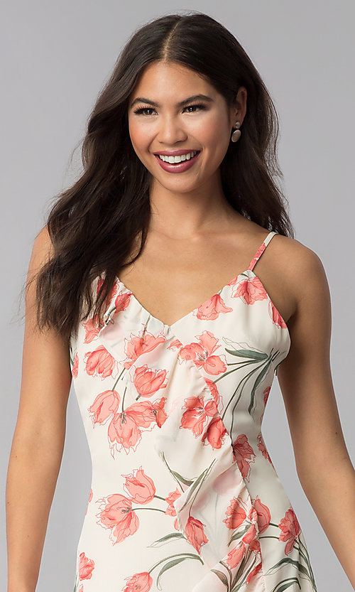 Image of short ivory and peach floral-print party dress. Style: STO-JD1280A Detail Image 1